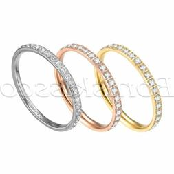 Women's 2mm Slim Titanium Eternity Ring Cubic Zirconia Engag