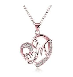 Women's 925 Sterling Silver Rose Gold Mom's Love Shaped Diam