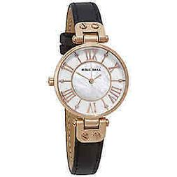 Anne Klein Women's AK/2718RGBK Rose Gold-tone Black Leather