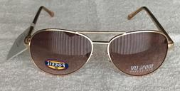 FOSSIL Women's Aviator Sunglasses Rose Gold Frame Brown Lens