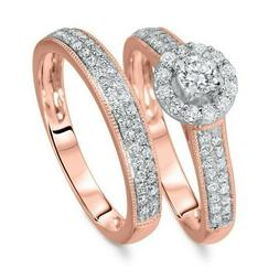 Women's Band Engagement Bridal Ring Set 10k Real Rose Gold R