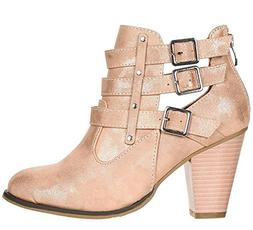 Forever Women's Buckle Strap Block Heel Ankle Booties Rose G