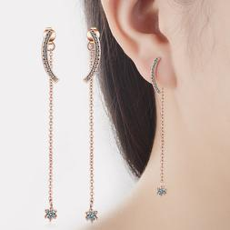 Women's Elegant Rose Gold Plated Drop Dangle Double Sided St