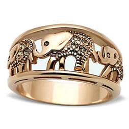 Women's Elephant Caravan Crystal Citrine Rose Gold Plated Fa