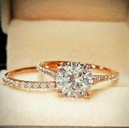 Women's Engagement Wedding Bridal Band Ring Set Real 10k Ros