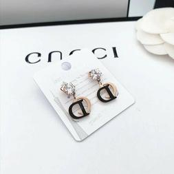 Women's Fashion Earrings Letter C*D Drop Stainless Steel Ros
