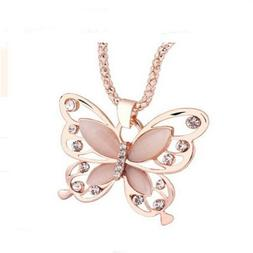 Women's Fashion Jewelry Rose Gold Butterfly Girl Pendant Nec
