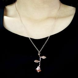 Women's Fashion Jewelry Rose Gold Color Flower Pendant Neckl