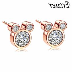 Women's Fashion Jewelry Rose Gold Mickey Mouse Earrings 67-1
