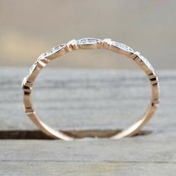 Women's Fashion Rose Gold Band Thin Ring Rhinestone Engageme
