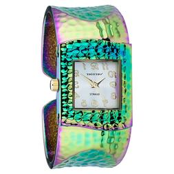 Vernier Women's Hammered Bangle Watch Rainbow, Gold, Rose go