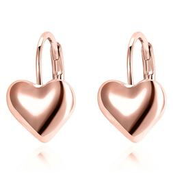 Women's Heart Dangle Earrings 18K Rose Gold Plated Gift Fash