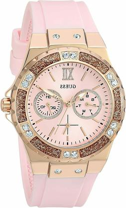Guess Women's Iconic Rose-Gold Tone&Pink Rubber Quartz Watch