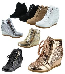 Women's Lace Up High Top Glitter Round Toe Wedges Sneaker Sh