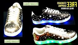 Forever Link Women's led-01 Lace Up LED Rechargeable Sneaker