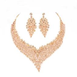 Women's Marquise Peach Rose Gold Crystal Rhinestone Necklace