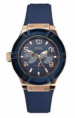Guess Women's Multifunction Rose Gold Tone & Blue Silicone S