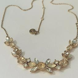 "Anne Klein Women's Necklace Rose Gold Tone Rhinestones 18"" N"