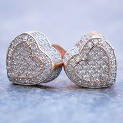 Women's Pink Small Rose Gold Heart Shape Micro Pave Screw Ba