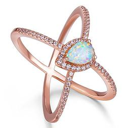 TIVANI Women's Pretty 18K Rose Gold Plated Created Pear Opal