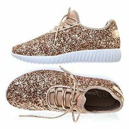 Forever Link Women's REMY-18 Glitter Fashion Sneakers, Rose