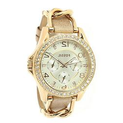Fossil Women's Riley ES3466 Rose-Gold Leather Japanese Quart