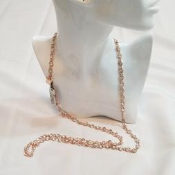 Anne Klein Women's Rose Gold Necklace with Clear Stones