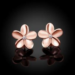 Women's Rose Gold Plated Crystal Lovely Small Flower Ear Stu