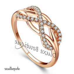 WOMEN'S ROSE GOLD PLATED INFINITY KNOT FRIENDSHIP LOVE PROMI