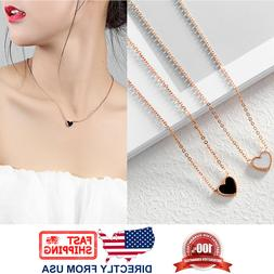 Women's Rose Gold Plated Stainless Steel Heart Necklace