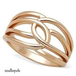 WOMEN'S ROSE GOLD PLATED STAINLESS STEEL WIDE BAND FASHION R