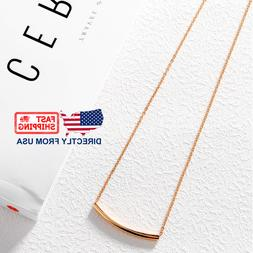 Women's Rose Gold Plated Stainless Steel Simple Curved Bar N