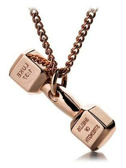 Women's Rose Gold Stainless Steel Mini Dumbbell Necklace Shi