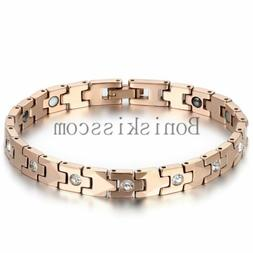Women's Rose Gold Tone Bracelet Tungsten Carbide w Magnetic