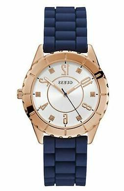 Guess Women's Rose Gold Tone Stainless Steel & Blue Rubber Q