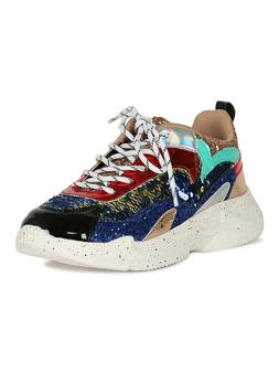 Women's Sequins With Glitter Lace Up Panel Platform Sneaker