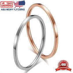 Women's Stainless Steel 1mm Thin Stackable Ring