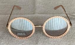 Guess Women's Sunglasses Rose Gold Mirror Faux Pearl GF0336