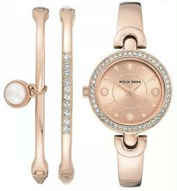 Anne Klein Women's Swarovski Crystal Rose Gold Watch & Bangl