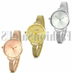 Women's Ultrathin Gold Rose Gold Silver Tone Mesh Band Analo