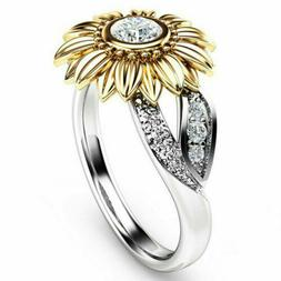 Women Sunflower Silver Rose Gold Ring Plated Zircon Promise