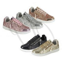 Forever Link Women Zipper Lace Up Glitter Metallic Sparkly F