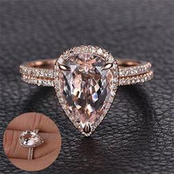 Womens 18K Rose Gold Rings Set Diamond Jewelry Wedding Band