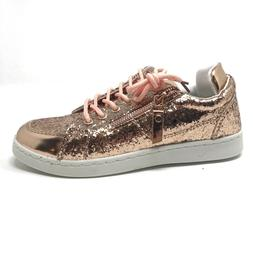 Forever Link Womens 8.5 rose gold glitter shiny sneakers NWT