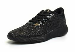 Womens Glitter Lace Up Platform Wedge Lightweight Sneakers F