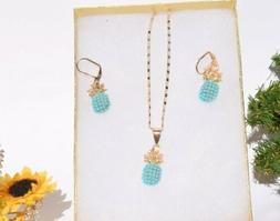 Women's Jewelry Set Pineapple Rose Gold laminated crystal