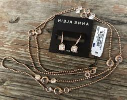 Anne Klein Womens Necklace & Dangle Earrings T57 Rose Gold C