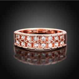 Womens Rose Gold Plated Austrian AAA CZ Crystal Elegant Ring