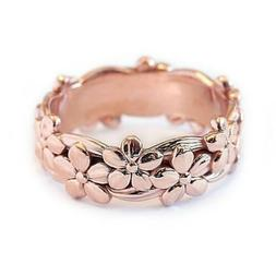 Womens Rose Gold Silver Floral Flower Band Ring Wedding Ring
