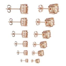 Womens Stud Earrings Stainless Steel 6 Pairs Set,Rose Gold T